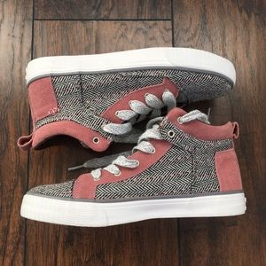 Toms - herringbone high tops 6.5 grey mauve pink